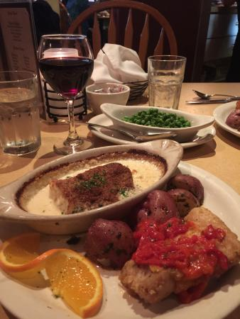 Epi's A Basque Restaurant: Cod done two ways (breaded and pan fried with pimentos and baked with a lemon cream sauce). The