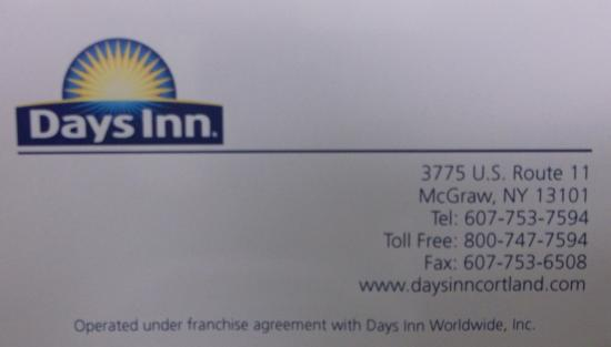 Days Inn by Wyndham Cortland / McGraw: Business card