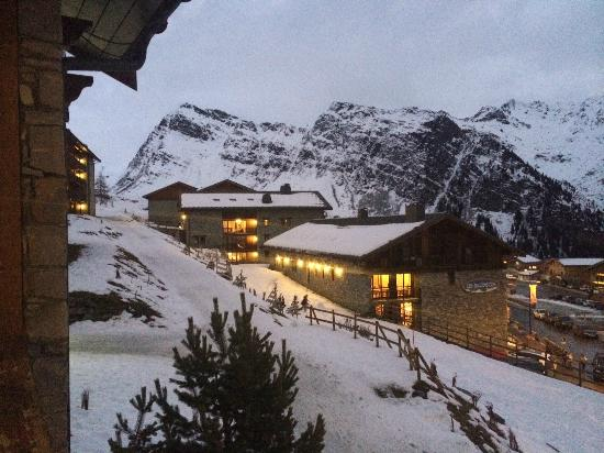 Les Balcons de la Rosiere: View of les Eucherts complex from Chalet Lounge