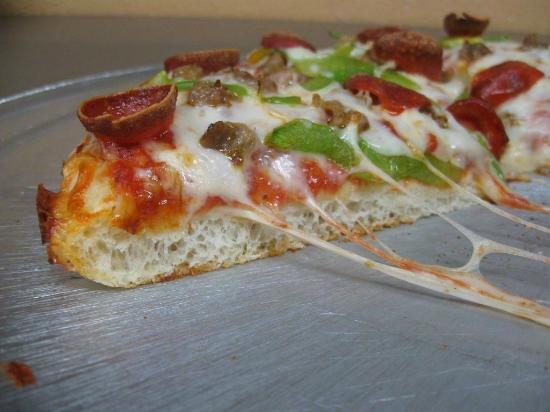 Republic Pizza Co. : Pan Crust Pizza available in Medium or Small sizes.