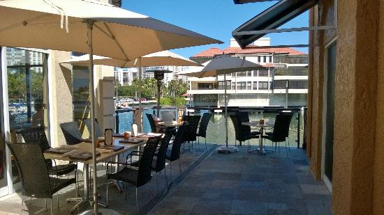 M Waterfront Grille: Pet Friendly Seating area for Dining.