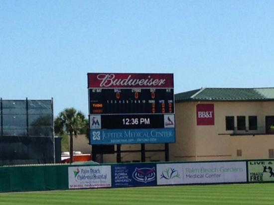 Jupiter, FL: The detailed scoreboard at Roger Dean Stadium!