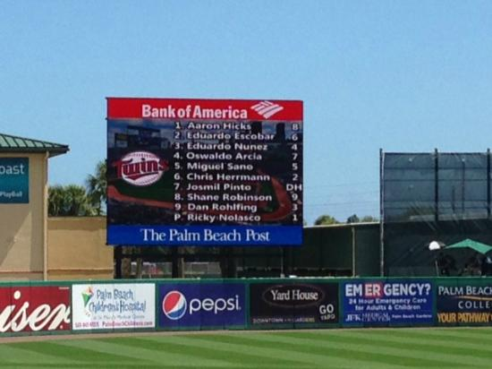 Jupiter, FL: The message board with lineups.