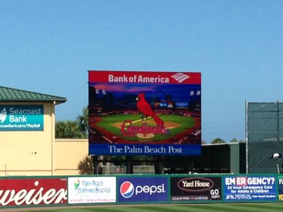 Jupiter, FL: The message board in between innings.