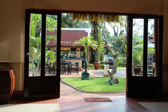 The Pe La Resort: Inside the dining room looking out