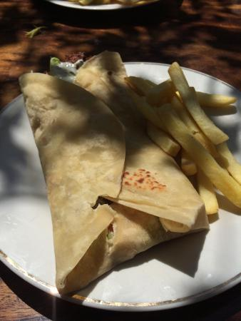 Cha Cha Cha: Falafel wrap with fries- 90 cords