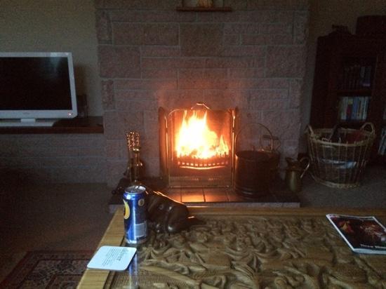 Kilmore Farmhouse: cosy fire in guest lounge