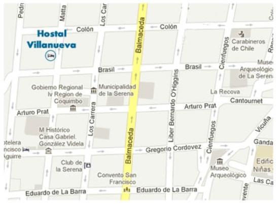 Mapa Hostal Villanueva Picture Of Hostal Villanueva La Serena