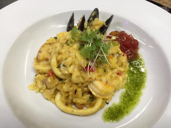 Niche Bistro: Seafood Saffron Risotto, Mediterranean Sauce!