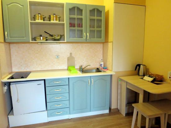 studio apartment kitchenette picture of avitar hotel riga tripadvisor. Black Bedroom Furniture Sets. Home Design Ideas