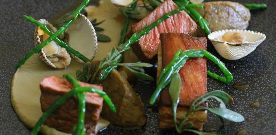 The Six Bells Horringer: Suffolk Lamb, Roasted Aubergine, Pickled Clams & Sea Vegetables
