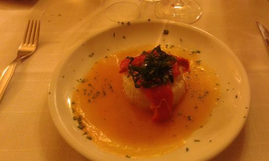 Bosco : risotto su crema di peperoni e zucca