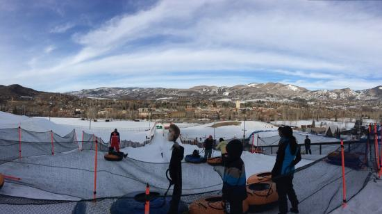Howelsen Hill Ski Area: Top of the ski-tubing hill.  What a view!