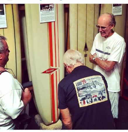 San Clemente, CA: Surfboard pioneer Hap Jacobs at SHACC telling stories during his exhibit.