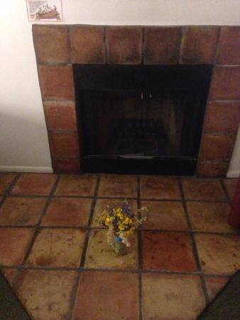 Motel 6 Payson: Wild flowers and fireplace