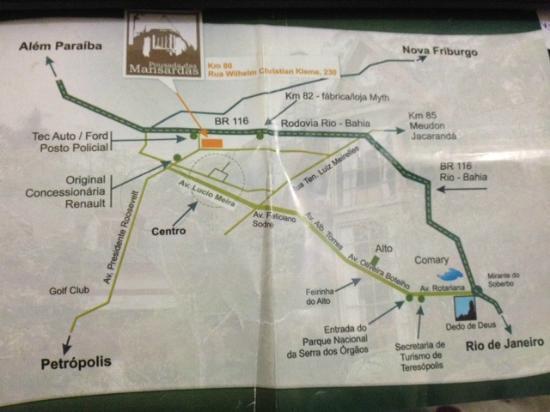 Pousada das Mansardas: Mapa da localização do hotel