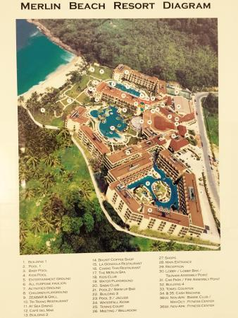 Phuket Marriott Resort & Spa, Merlin Beach: Helpful diagram showing location of the somewhat hidden adults pool with swim-up rooms.