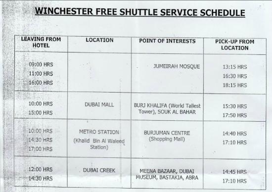 Winchester Hotel Apartments: Free Shuttle Bus Schedule