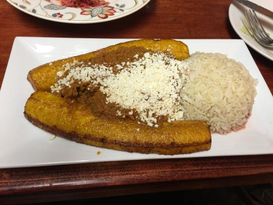 Arepa City: Yellow Plantain with rice & picadillo