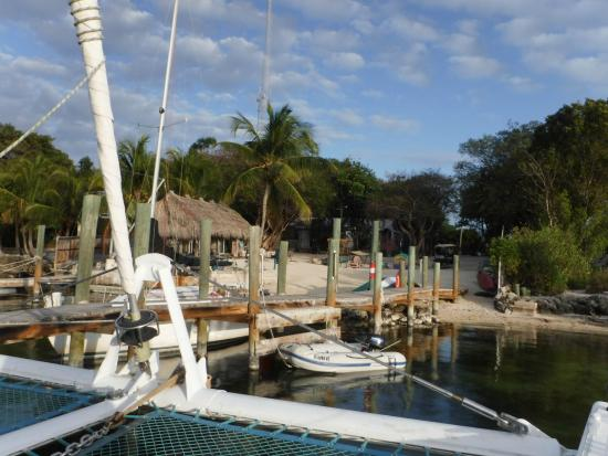 Key Lime Sailing Club and Cottages: View of dock and beach area as we leave for sunset sail