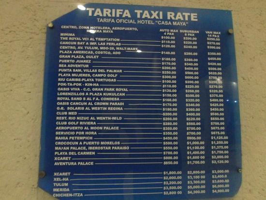 Casa Maya Cancun: Tarifa de taxis desde el hotel