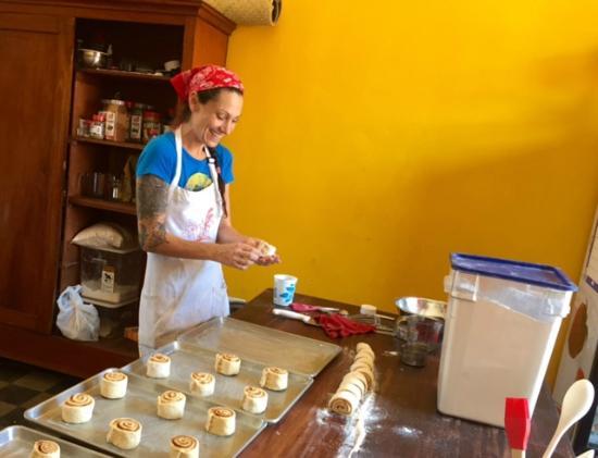Pan De Vida - Granada: Owner Andrea during on a Cinnamon Bun Sunday.