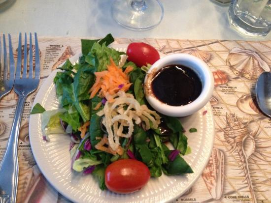 Corey's Seafood Corner: House salad with balsamic vinaigrette.