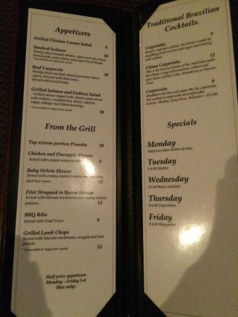 "Chima Steakhouse: The appetizers and items ""from the grill"" are 1/2 off at happy hour (mon-fri 5-8)"
