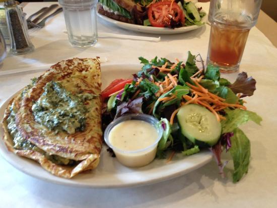 La Quinta Baking Co: Spinach artichoke crepe with salad. Yum!