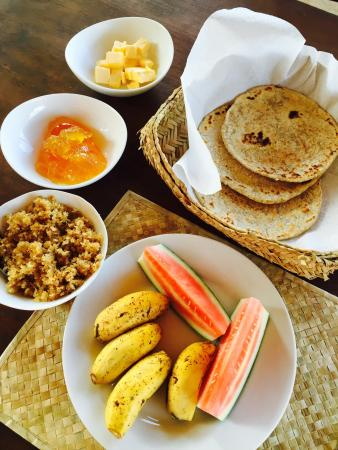 Thick Forest: Breakfast - hoppers with butter, honey coconut flakes, marmalade and fruits