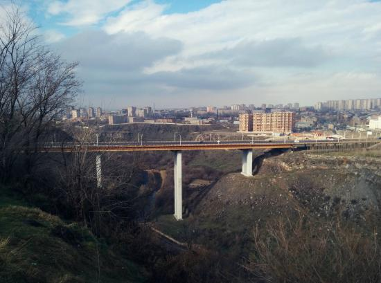 View of Davtashen Bridge from Nor Arabkir Memorial