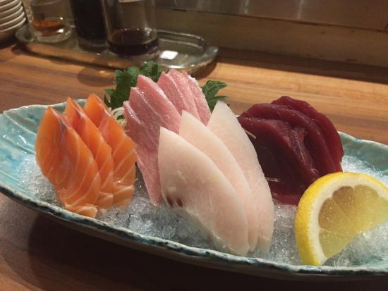 Sushi Tei - VivoCity: Fresh sashimi  Sake, mekajiki, fatty tuna and maguro