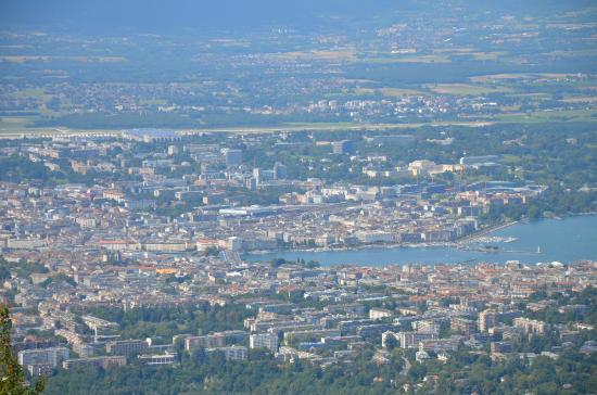 Wonderlandscape: view on Geneva and Grand-Saconnex with Mountains of Jura and Lake of Geneva