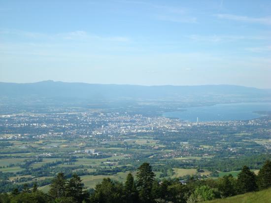 Wonderlandscape: view on Geneva and Grand-Saconnex with Mountains of Jura and Lake of Geneva