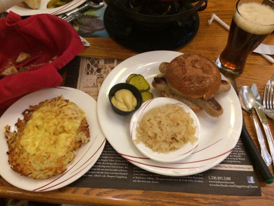 The Chalet in the Valley: I enjoyed Gluten-free Bratwurst sandwich with a side of Rosti while utilizing the BYOB policy an