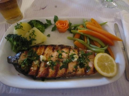 Excellent salmon dish served with fresh veg