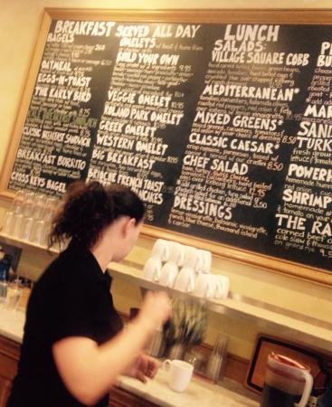 Village Square Cafe: The wait staff was great..helping choose between menu items and also great baristas!