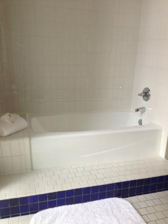 The Ashton Hotel : Pedestal tub (faces the shower). Nice, but too shallow for a luxurious soak.