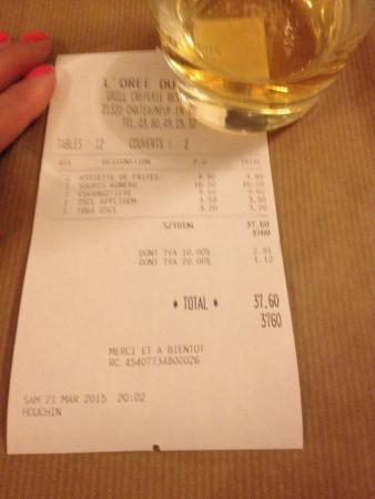 l'Oree du Bois: 2 meals 2 drinks and an extra side...seriously? Amazing!!!!