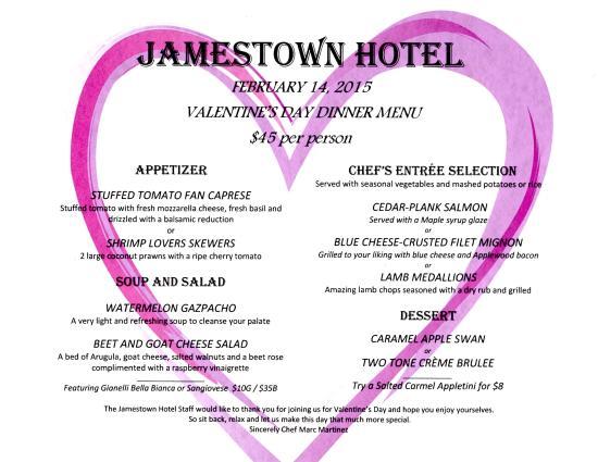 Jamestown, CA: Valentines Day Menu