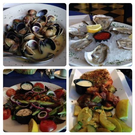 Rick Seafood: Oysters, sauteed Vongoles, Salmon Salad, Crusted Arctic Char