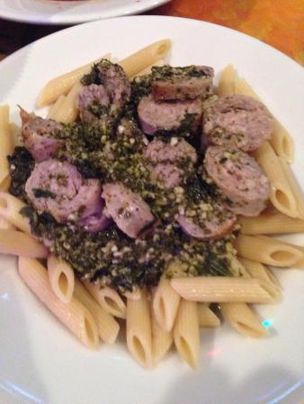 CJ's Italian Restaurant: Penne pesto with basil and Italian sausage. Size small.