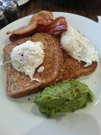 Brewbar Cafe : Poached eggs avacado bacon!