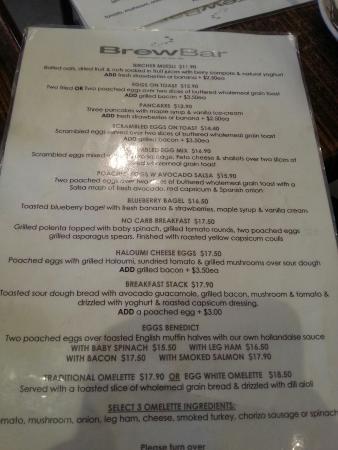 Brewbar Cafe : The menu
