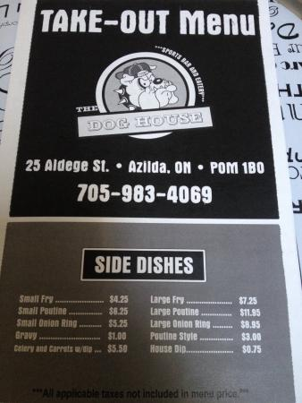Dog House Wings Menu