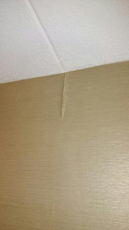 Holiday Inn Express Charleston - Civic Center : Stained ceiling and peeling wallpaper. Leak?