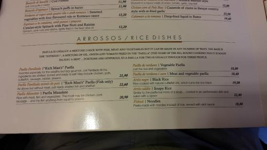 paella menu picture of 7 portes barcelona tripadvisor