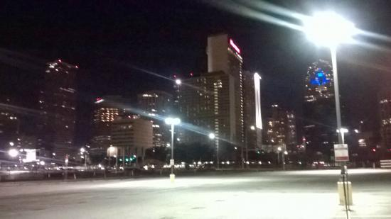 Sheraton Dallas Hotel And Skyline By Night From Deep Ellum