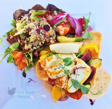 Godrevy Cafe: Mediterranean vegetables and halloumi on ciabatta with a toasted seed salad.