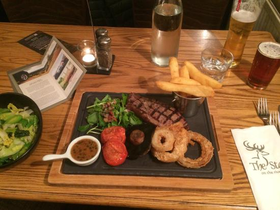 The Stag on the River: Didn't need the extra veg.  Excellent beer and wine too.